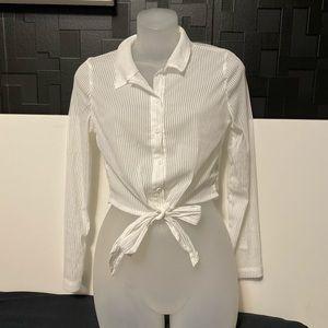 Sheer Striped Button Down Tie Crop Top